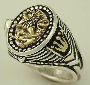 10 Karat Gold Heraldic lion silver Oval ring