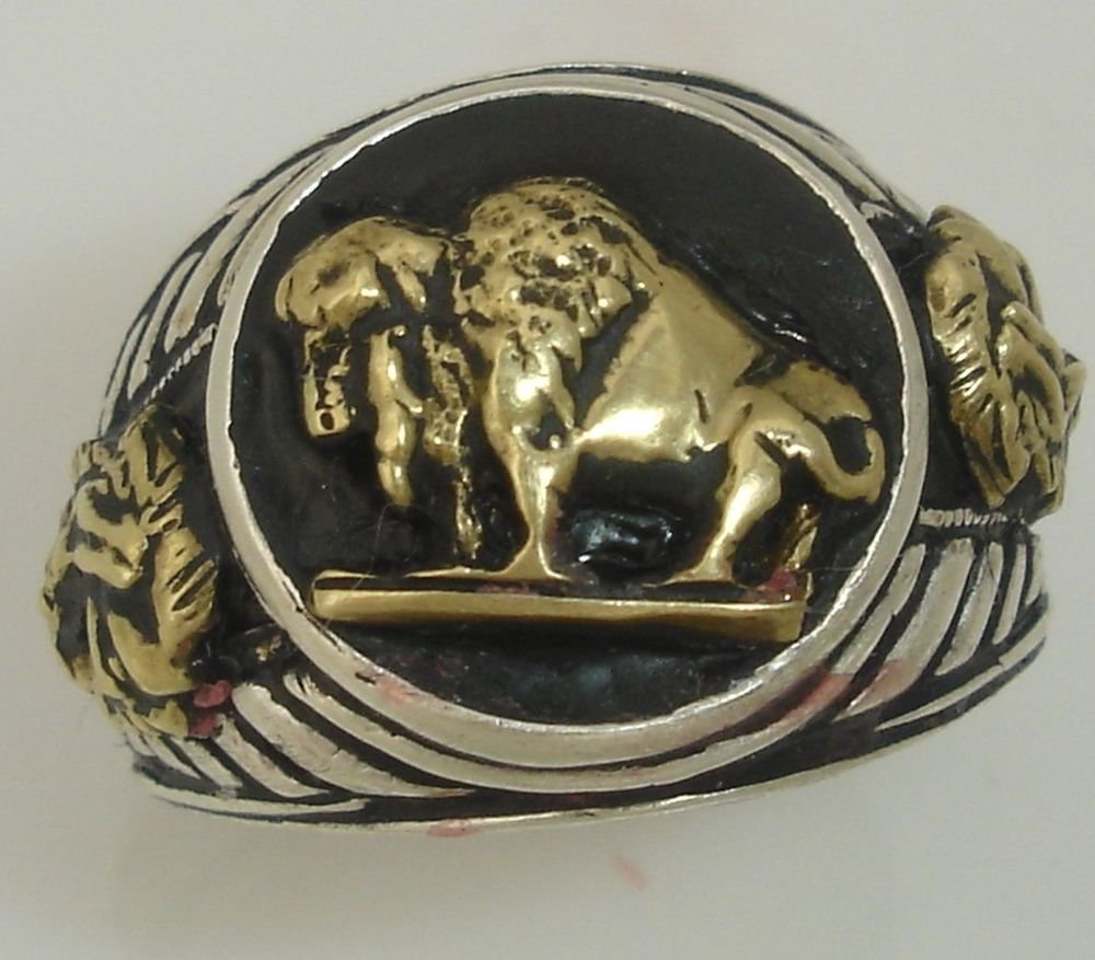 10 Karat Gold American Buffalo Indian Warrior Sterling Silver Mens  Pinky ring