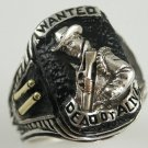 Bounty Hunter ring Wanted Dead or Alive Sterling Silver lge