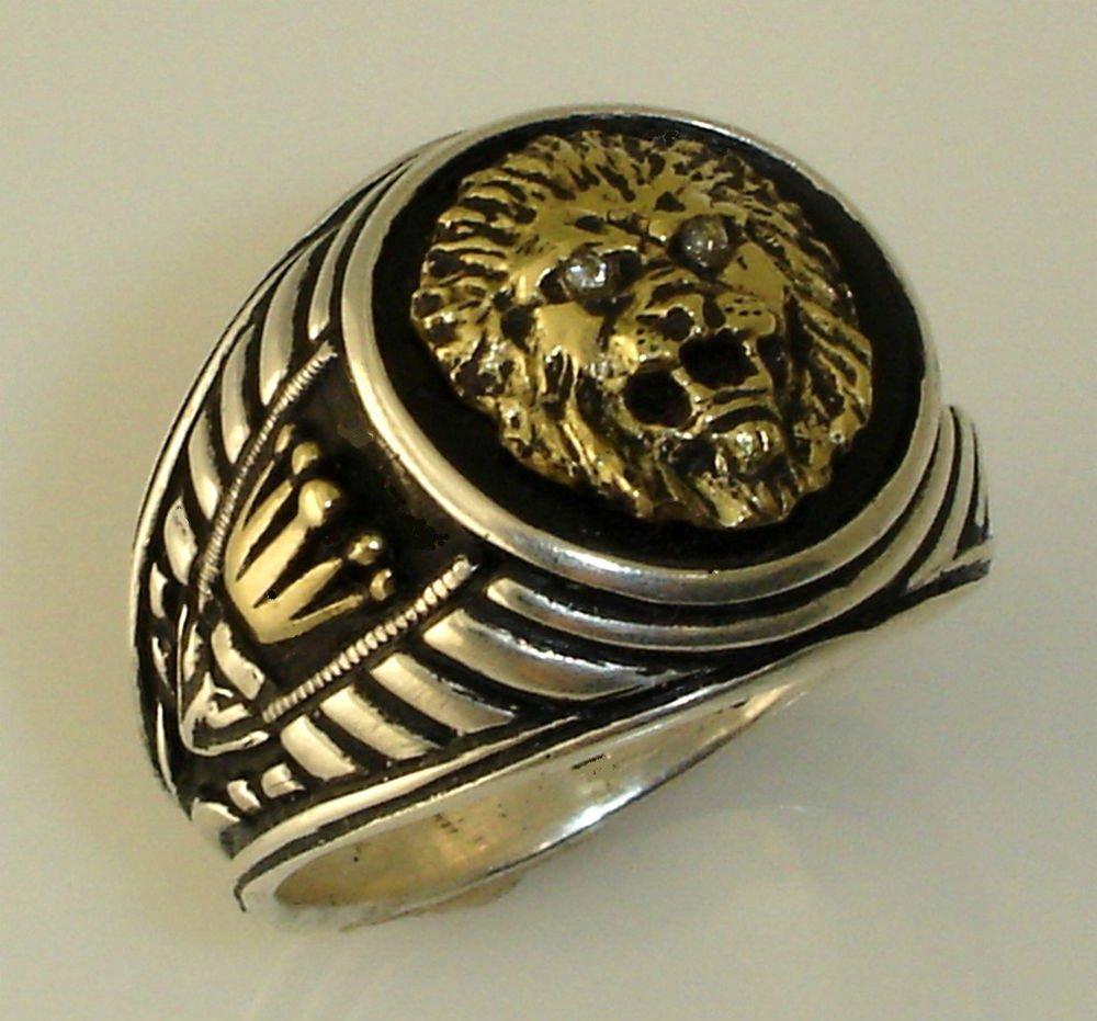 10 Karat Gold  Roman lion Crown signet silver ring