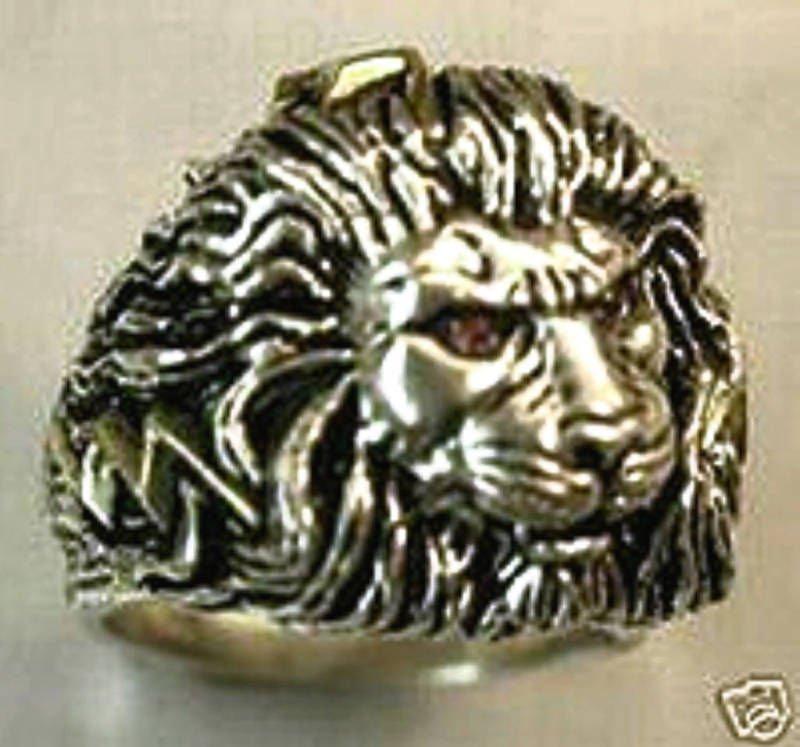 LARGE LION Head Mens lightning bolt ring        Sterling Silver Ruby