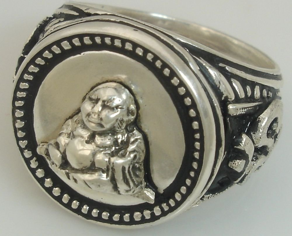 Lucky Budha Ohm Mens Coin silver ring