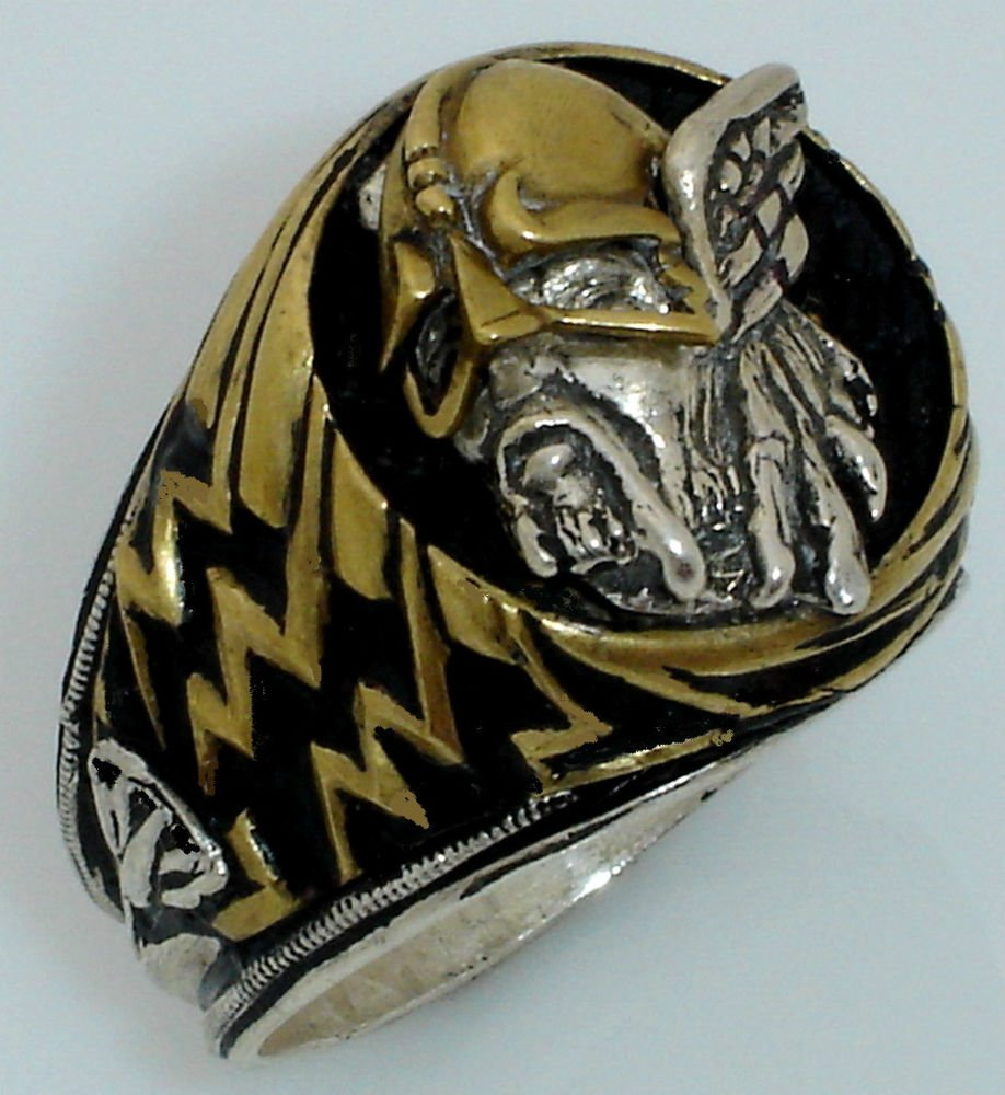 Viking Warrior Lightning Ring   Sterling Silver Large