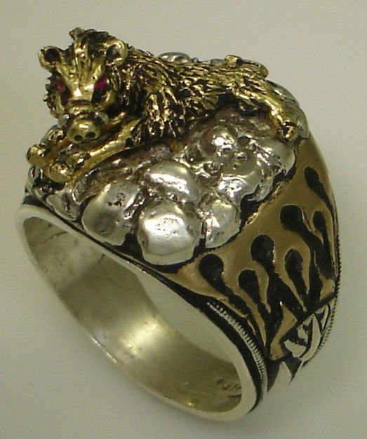 HOG Motorcycle Mens Flame ring        Sterling Silver Ruby Lge.