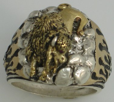 American BUFFALO Mens flame ring        Sterling Silver ruby Lge.