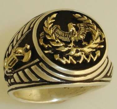 10 Karat Gold Roman Eagle Fasces signet silver ring