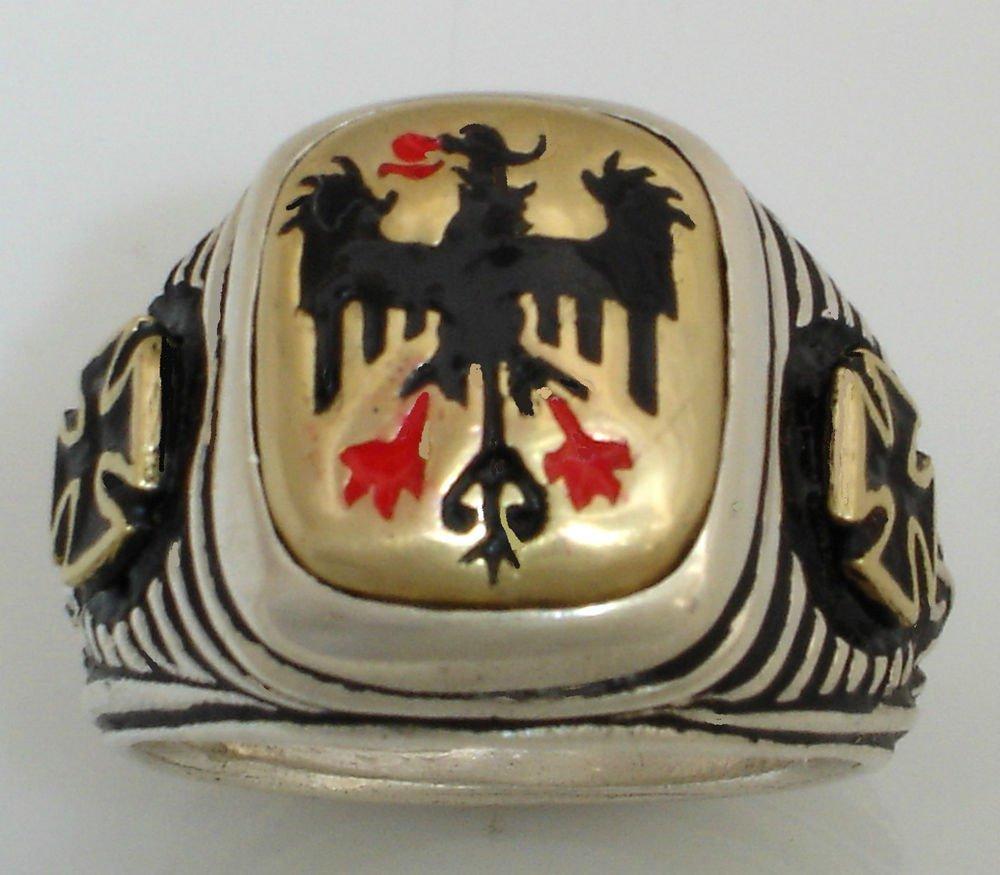10 Karat Gold  Teutonic Eagle Iron cross   Sterling Silver ring Lge