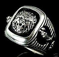 Roman Lion,Fasces Signet  ring,,,Sterling Silver,Lge.
