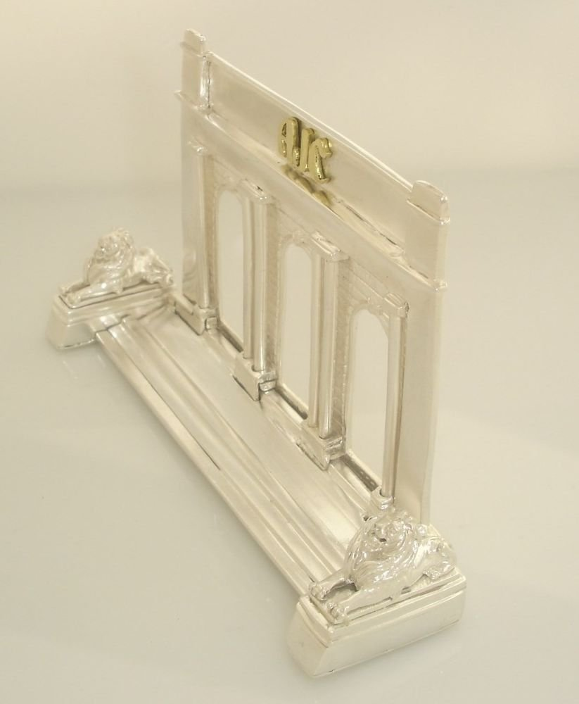 NewYork42nd street Library business card holder sterling silver 10K Gold
