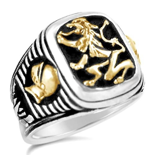 Bavarian Lion Knight Signet    sterling silver mens  ring lge.