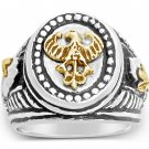 10K German eagle Teutonic Knights helmet Signet ring*