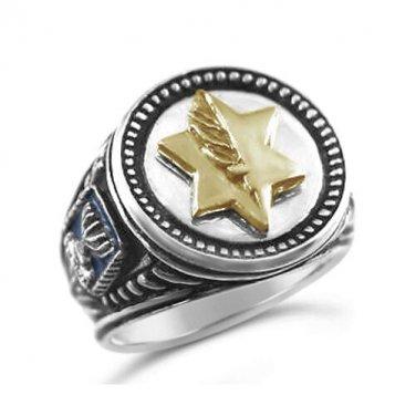 Israel Medal of Valor Itur HaGvura Mens Coin ring Sterling Silver