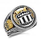Masonic double Gold Eagle Shield ring  10k Gold  Silver