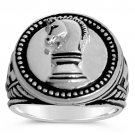 Knights Chess Mens Coin ring sterling silver