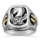 Paladin Pistolero Mens signet engraved ring Sterling Silver