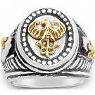 10K German eagle Teutonic Knights helmet Signet ring