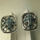 Cross of Lorraine blue enameled cuff links sterling silver
