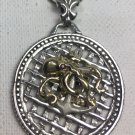 10Karat Gold Octopus sterling silver medallion