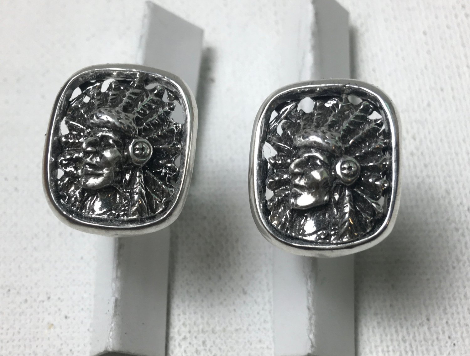 Native American Indian Chief sterling silver Cufflinks