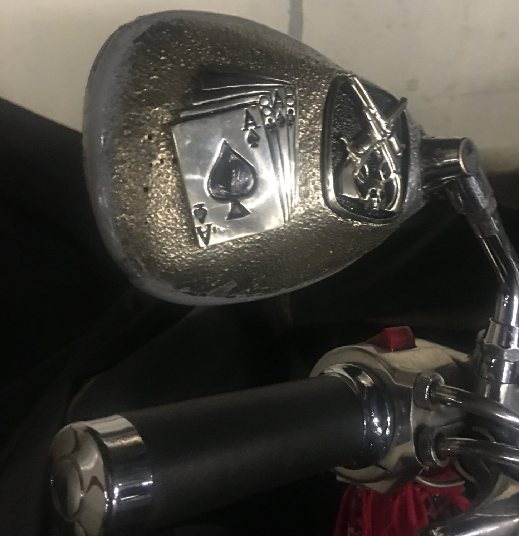 Custom Dead Man's Hand skull Motorcycle Mirrors pair