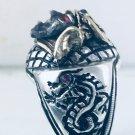 10k Samurai Artisan Made sterling silver Dragon ring