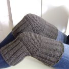 Dark Grey WOOL Size L (up to 23 in) Handmade Knitted Kneepads Therapeutic Leg Warmers Knee Socks