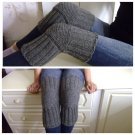 Grey WOOL Size M (up to 21 in) Handmade Knitted Kneepads Therapeutic Leg Warmers Knee Socks