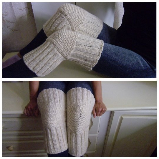 Milky WOOL Size S (up to 18 in) Handmade Knitted Kneepads Therapeutic Leg Warmers Knee Socks