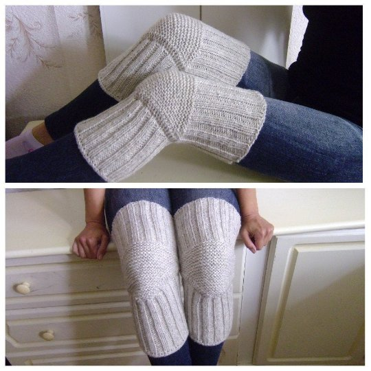 Light Grey WOOL Size S (up to 18 in) Handmade Knitted Kneepads Therapeutic Leg Warmers Knee Socks