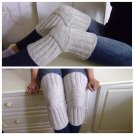 Light Grey WOOL Size L (up to 23 in) Handmade Knitted Kneepads Therapeutic Leg Warmers Knee Socks