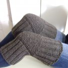 Dark Grey WOOL Size S (up to 18 in) Handmade Knitted Kneepads Therapeutic Leg Warmers Knee Socks