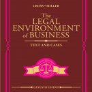 The Legal Environment of Business Text and Cases 11th Edition 11e by Cross, Miller 9780357129760