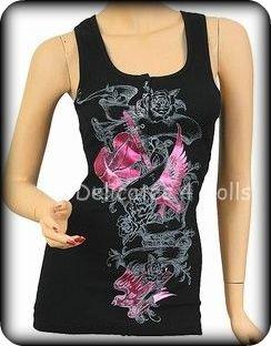 Black & Hot Pink and Guitar Punk Foil Tank