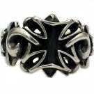 Cross ring S925 Sterling Silver Handmade five pointed star cross badge ring