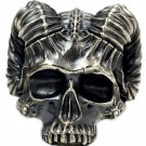 Satan horn demon ring S925 Silver Handmade skeleton Gothic Ring