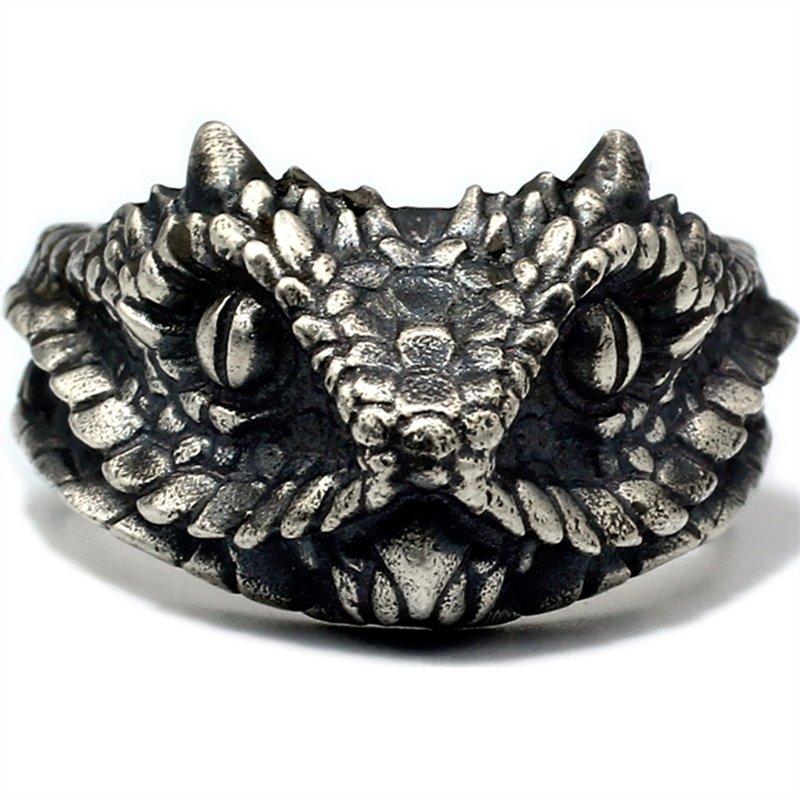 Rattlesnake ring S925 Sterling Silver Handmade punk snake head ring for boys