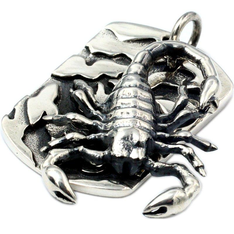 Scorpion tag 925 Sterling Silver Hand Made retro locomotive wind poison scorpion rock Pendant