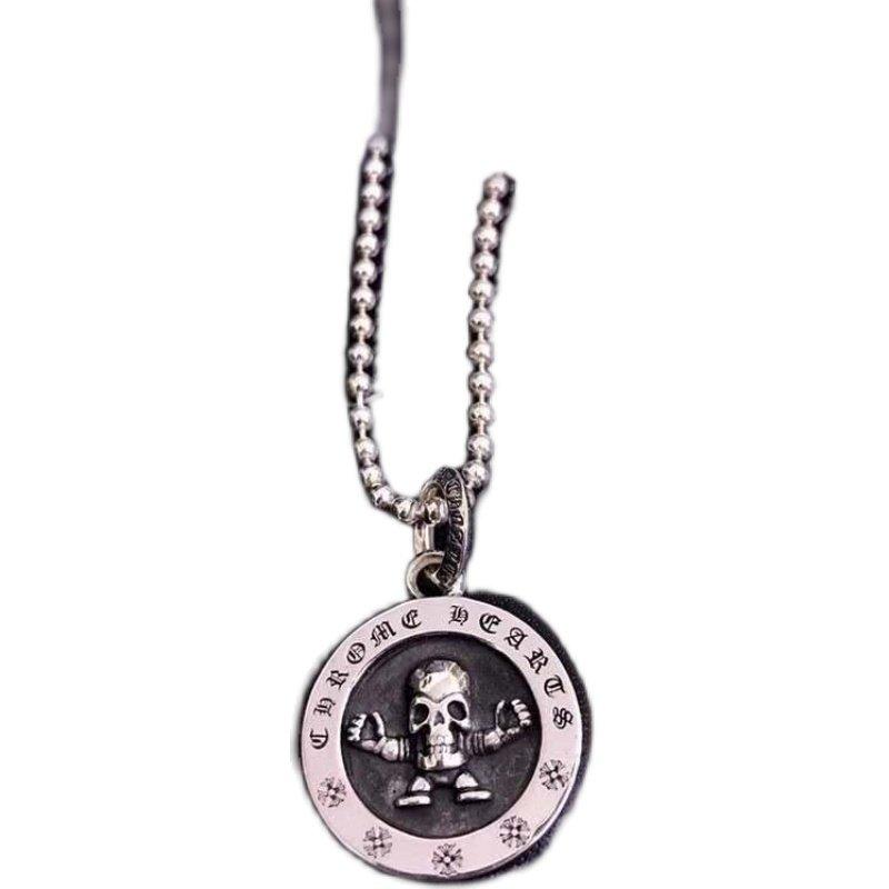 S925 Sterling Silver necklace foti swirl cross skull Hip-hop punk vintage Chrome Hearts necklace