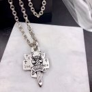 S925 Sterling Silver Handmade Sword and dagger three-piece pendant letter Chrome Hearts necklace