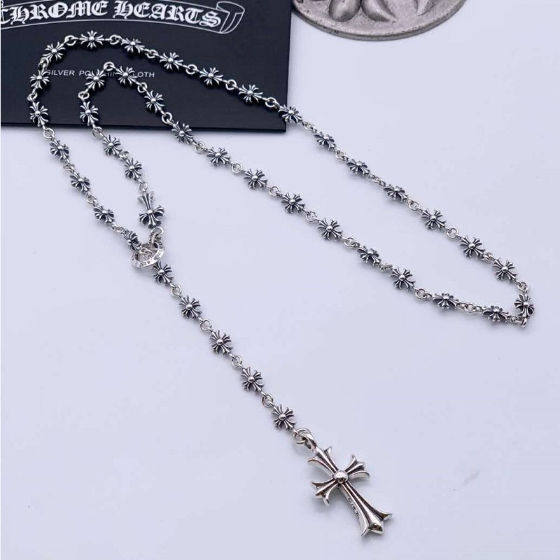 Chrome Hearts Cross necklace  S925 Sterling Silver Handmade Small Cross Adjustable Necklace