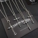 Chrome Hearts Cross hexagram studded boat anchor long pendant necklace S925 Sterling Silver necklace