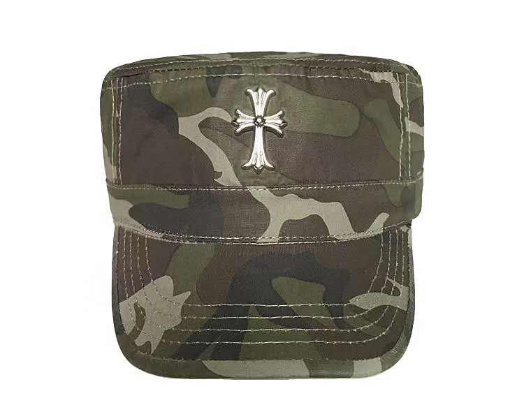 Chrome Hearts Cross camouflage military cap, retro sun hat, Roman letter baseball cap