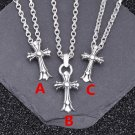 Chrome Hearts Double Cross Roman alphabet Necklace S925 Sterling Silver rock Necklace handmade