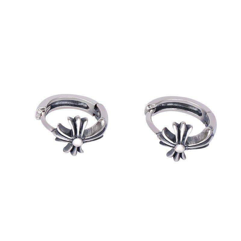Chrome Hearts cross anchor Earring,S925 sterling silver handmade Retro rock earring