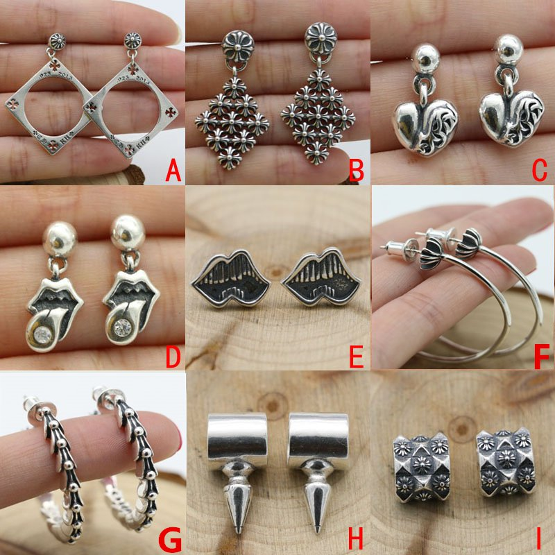 S925 sterling silver handmade Retro rock earring Chrome Hearts Earring