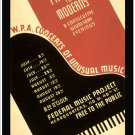 W.P.A. Concerts, Pre-Bach to Moderns.  Art Print Taken From A Vintage Concert / Theatre Poster