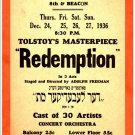Redemption, 1930's (2) (Yiddish).  Art Print Taken From A Vintage Concert / Theatre Poster
