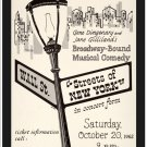 Streets Of New York, 1962.  Art Print Taken From A Vintage Concert / Theatre Poster