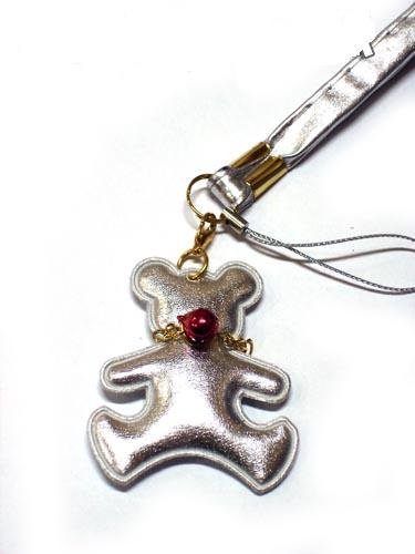 Silver Teddy Bear with Heart Cell Phone Chain