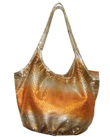 ORANGE-GOLD SEQUIN HANDBAG